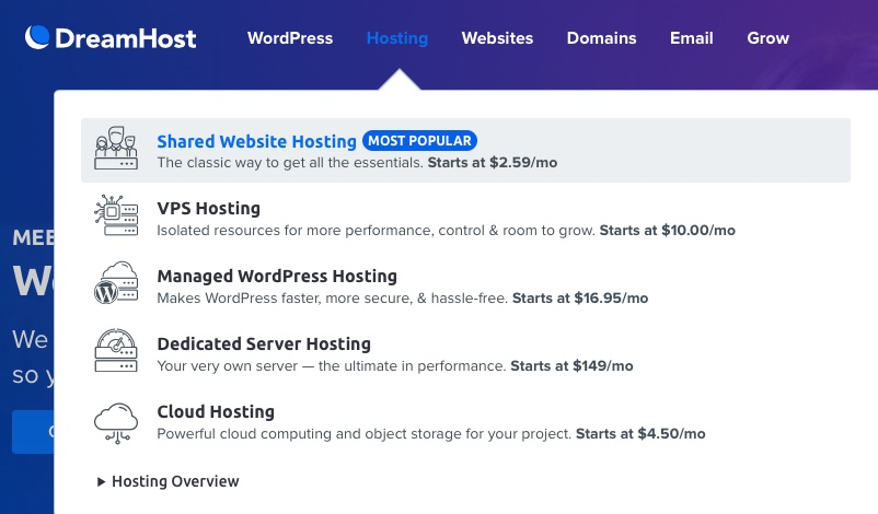 Dreamhost Shared Hosting options